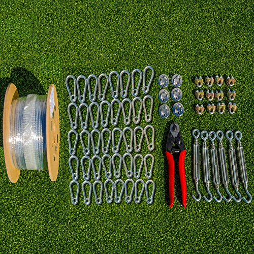 Net World Sports Batting Cage Netting Wire Tension Kit – Everything You'll Need To Easily Hang A Baseball Batting Cage (70 foot)