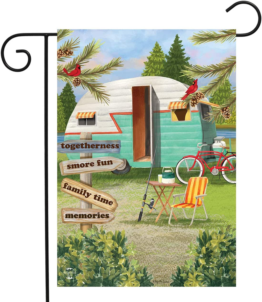 "Briarwood Lane Woodsy Camper Summer Garden Flag Campsite 12.5"" x 18"""