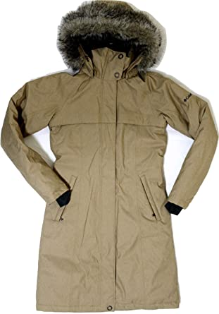 06080f313 Columbia Women's Flurry Run Down Long Omni Heat Jacket Coat Hooded Parka,  Large, Truffle