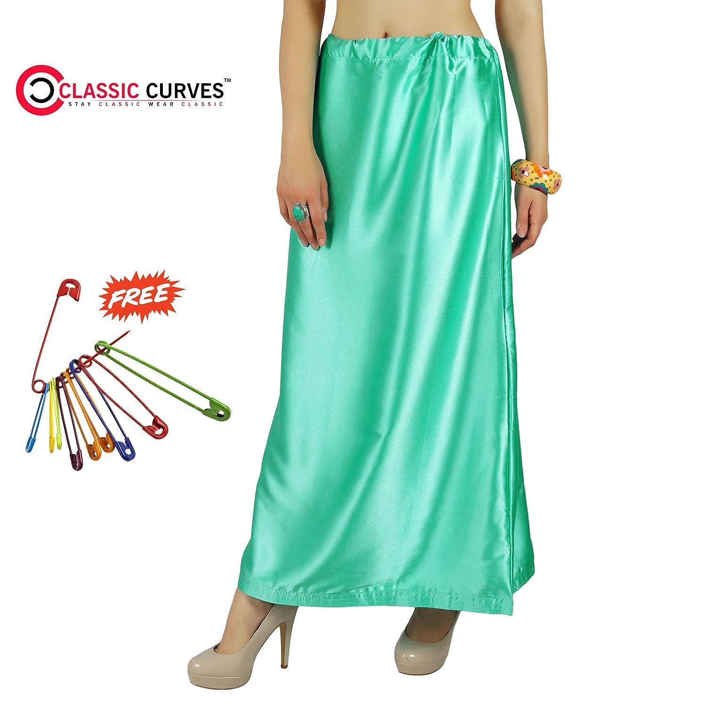 Classic Curves Saten Satén Enagua Mujeres Falda Interior Falda de ...