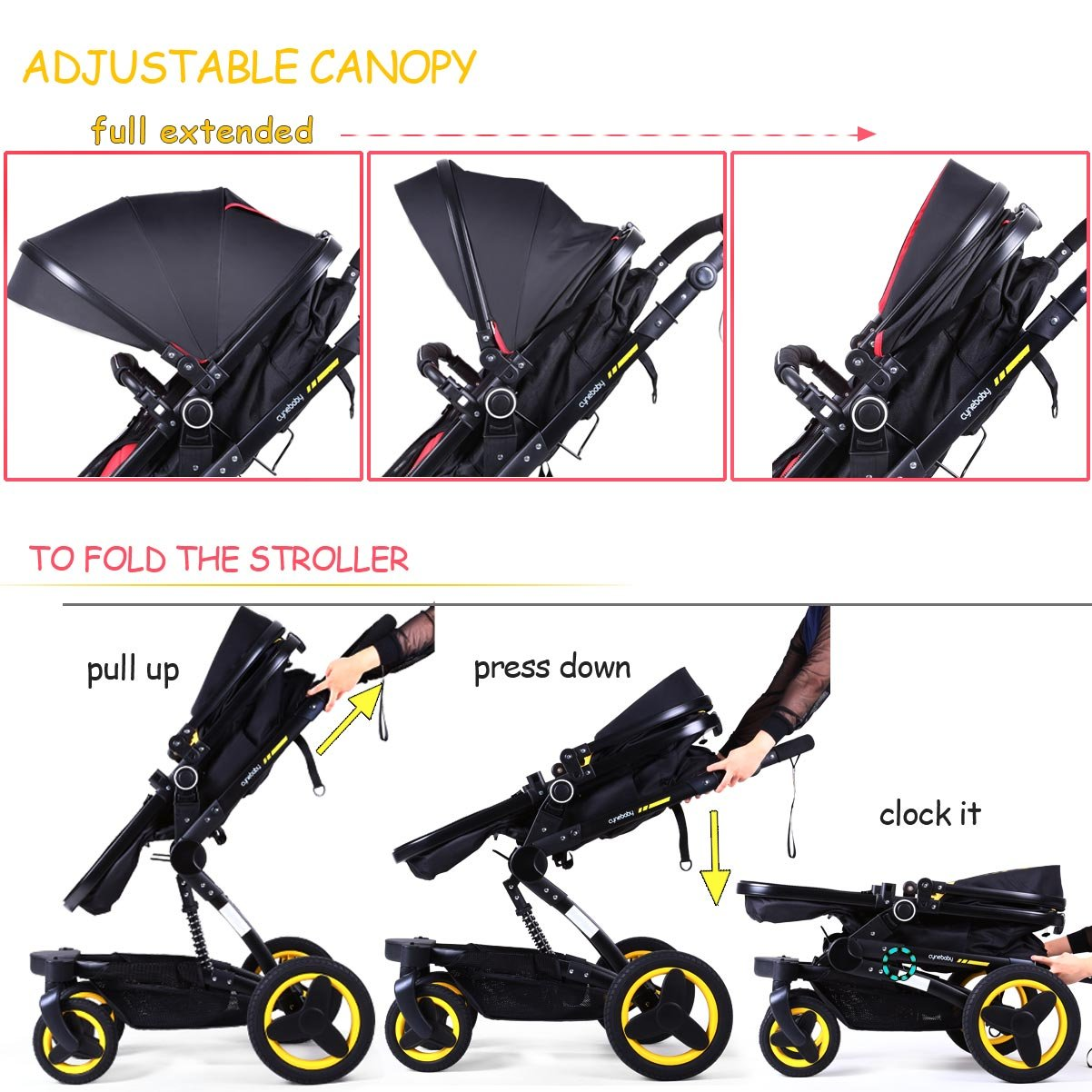 Baby stroller travel system folding pram pushchair infant toddler carriage high landscape (blue) by Cynebaby (Image #10)