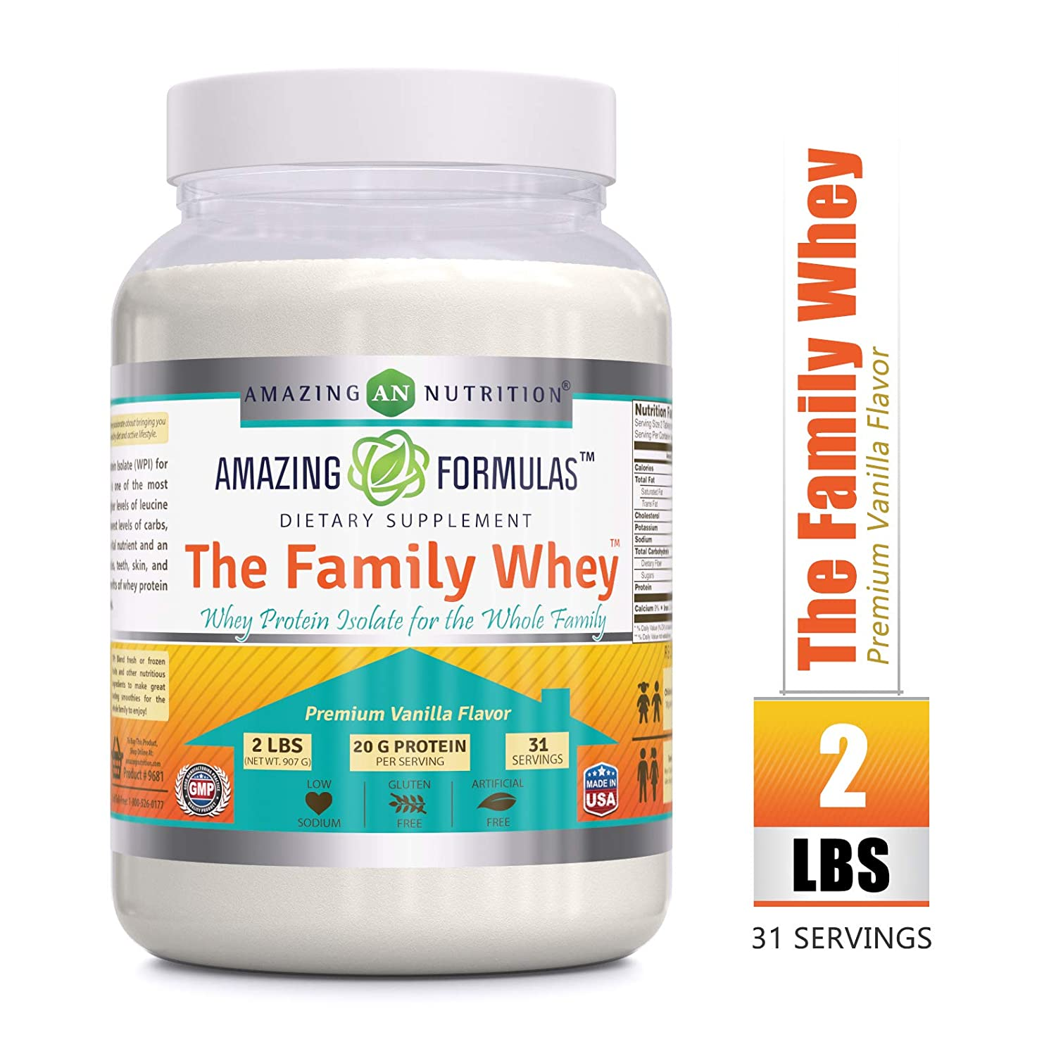 Amazing Formulas The Family Whey Whey Protein Isolate Powder for The Whole Family 2 lbs Most Complete Purest Form of Protein – Gluten Free – All Natural Ingredients-