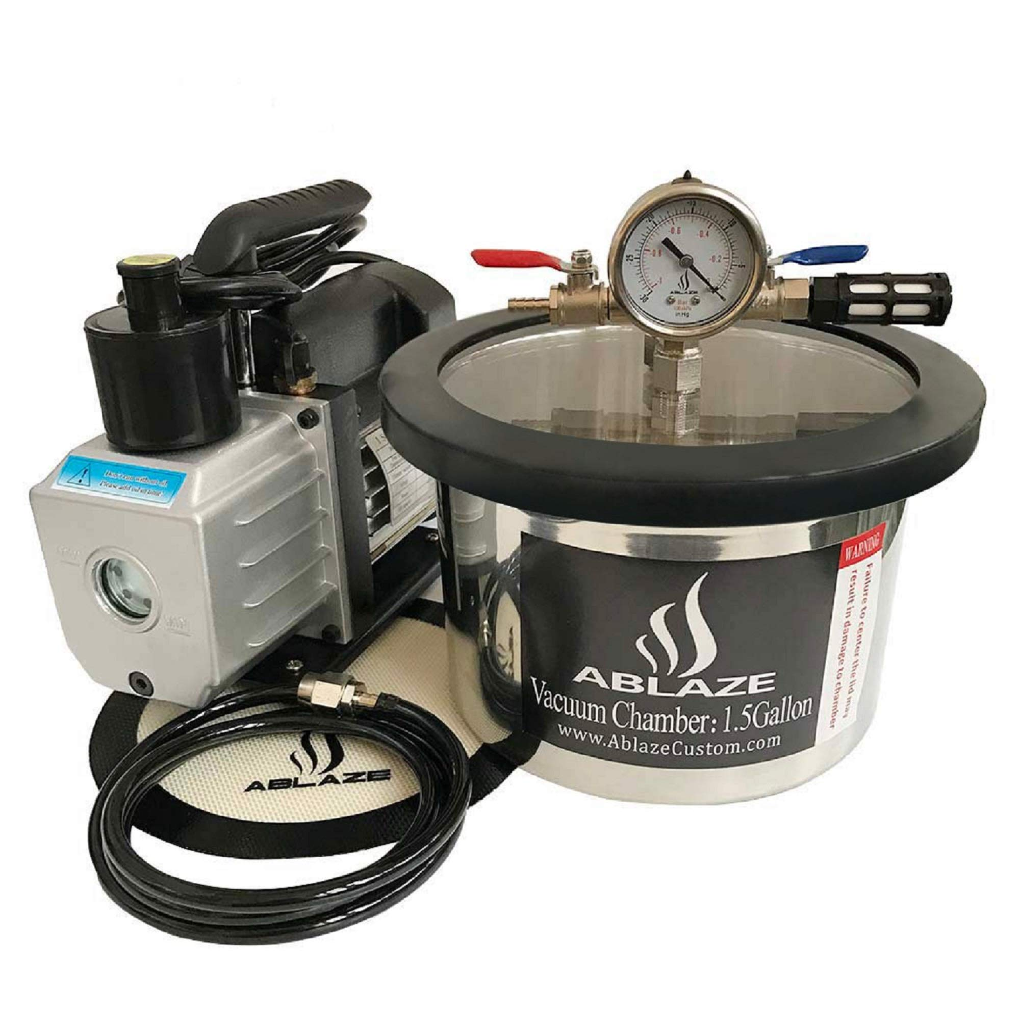 ABLAZE 1.5 Gallon Stainless Steel Vacuum Degassing Chamber and 3 CFM Single Stage Pump Kit