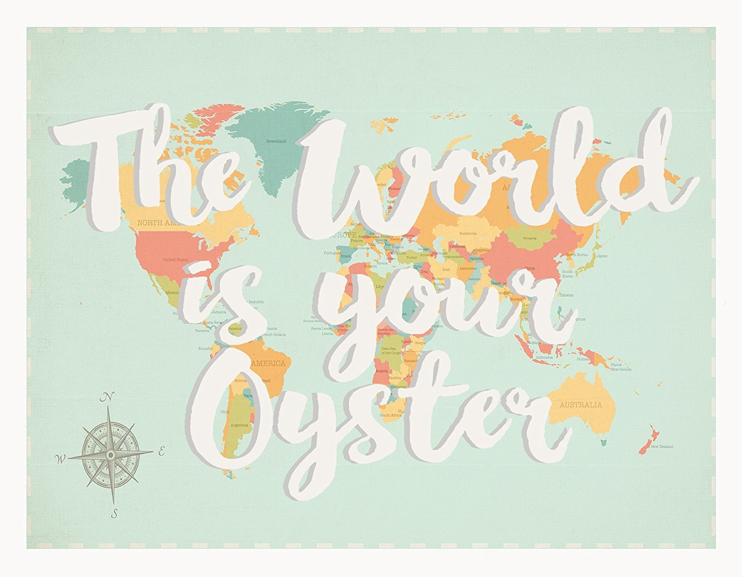 The World Is Your Oyster World Map, 24x36 Inch Print, Children's Wall on glider map, statue map, inverted map, glass map, go to the map, palace map, border map, magnetic map, large map, world map, trench map, floor map, desk map, plant map, plate map, atlas map, home map, green map, englewood map, step map,