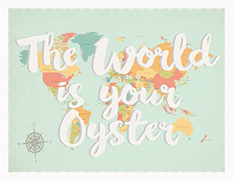 Amazon the world is your oyster world map 11x14 inch canvas the world is your oyster world map 11x14 inch canvas childrens wall art map gumiabroncs Images