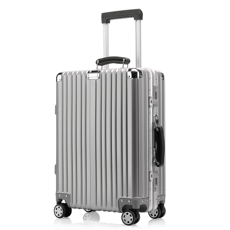 クロース(Kroeus)キャリーケース スーツケース TSAロック搭載 旅行 出張 大容量 復古主義 8輪 超軽量 機内持込可 B01MQQ7PYE M|シルバー シルバー M