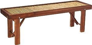 Oriental Furniture Japanese Bamboo Bench w/ Wood Frame