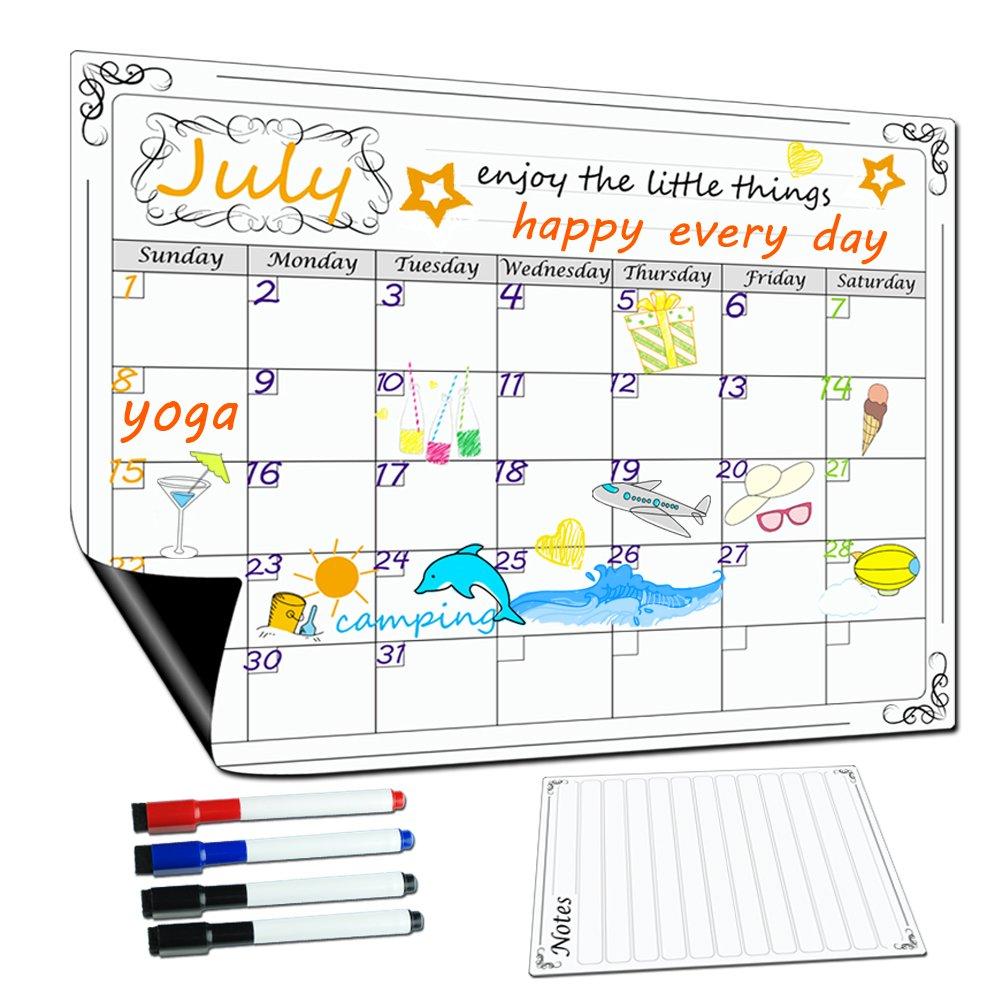 Lockways Magnetic Dry Erase Calendar 17 x 13 - Monthly White Board/Whiteboard Organizer Planner, Fridge Magnetic Calendar Organizer for Kitchen Refrigerator