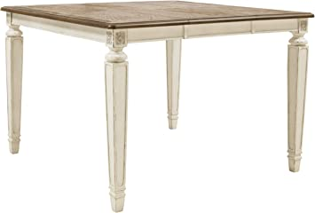 Amazon Com Signature Design By Ashley Realyn Dining Room Table Two Tone Tables