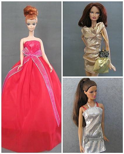 amazon com 3 barbie doll clothes dresses christmas colors fit 11 5