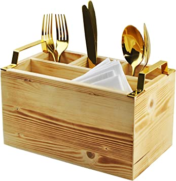 Spiretro Organizador De Cubiertos Para Cocina Comedor Entretenimiento Pícnics 4 Compartimentos Madera Maciza Con Mango De Metal Dorado Color Beige Home Improvement