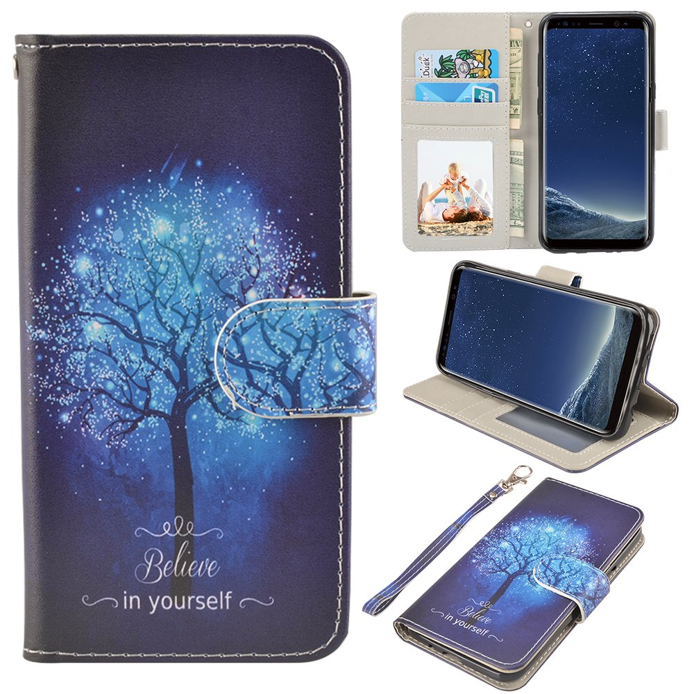 Galaxy S8 Case, UrSpeedtekLive Galaxy S8 Wallet Case Folio Flip Premium PU Leather Case Cover with Card Holder Slot Pockets, Wrist Strap, Magnetic Closure For Samsung Galaxy S8 (2017), Galaxy Tree