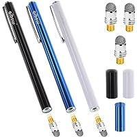 aibow タッチペン スマートフォン タブレット スタイラスペン iPad iPhone Android 3本+ペン先3個 6mm (ブルー+ブラック+ホワイト)
