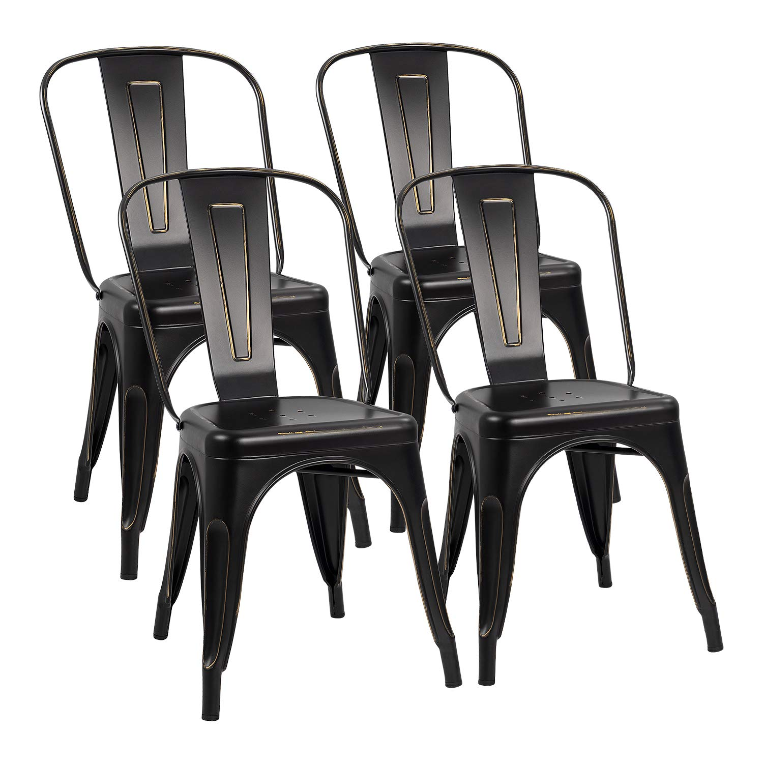 Metal Chairs Indoor-Outdoor Stackable Dinning Chairs with Back Modern Style Industrial Bistro Kitchen Cafe Side Chair Set of 4 (Black Gold)