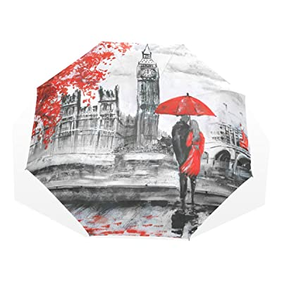 Ethel Ernest Folding Windproof Umbrella Beautiful Oil Painting Street View Of London Waterproof Foldable Umbrella