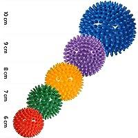 POWRX Massageball | Noppenball für Reflexzonen Massage Selbstmassage | Igelball Größen | Einzeln oder 5er Set | Ball mit Noppen