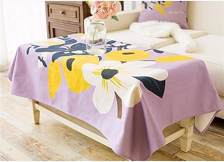 HXC casa violeta flores de lavanda Floral mantel algodón lino país ...