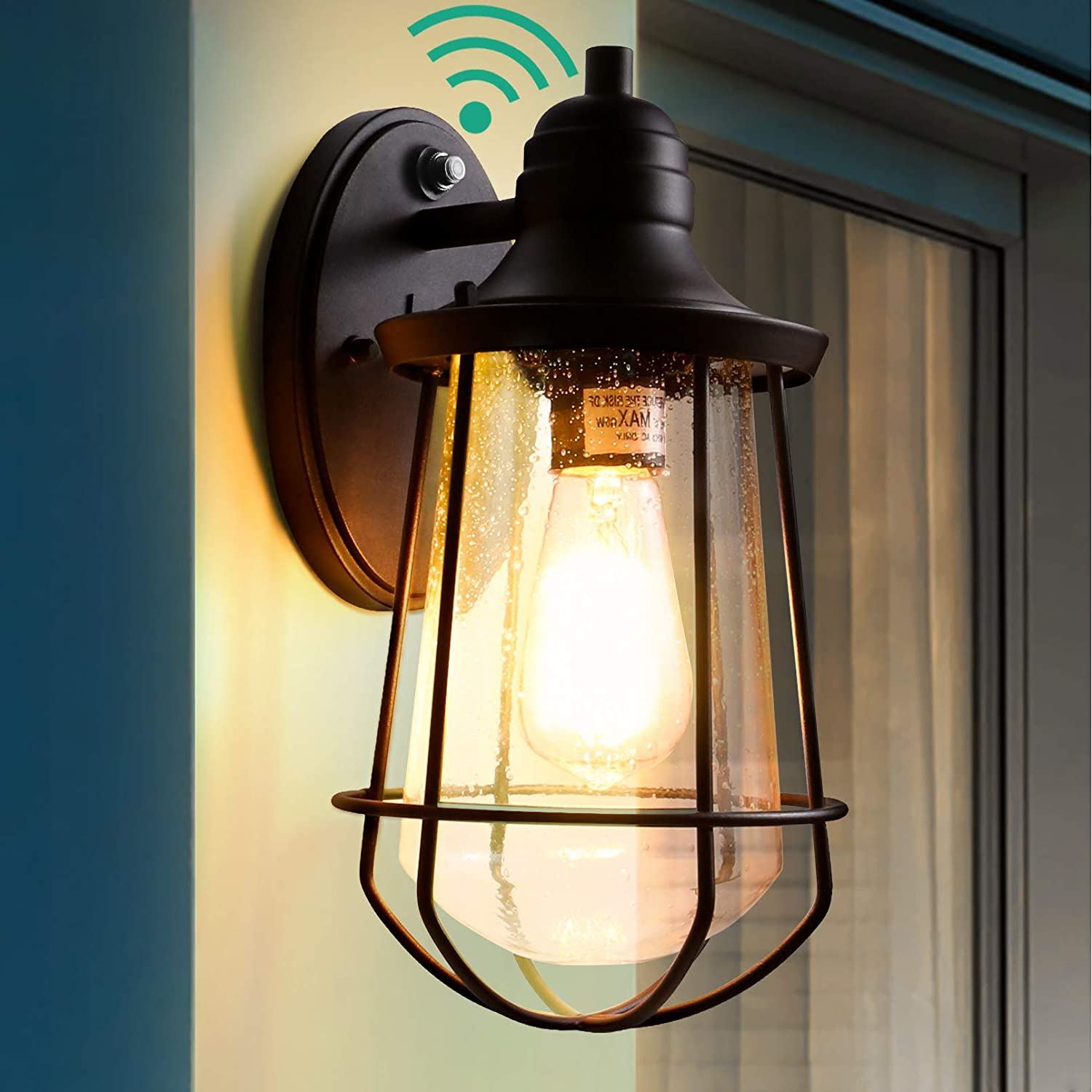 Outdoor Light Fixtures Wall Mount with Dusk to Dawn Photocell,Black Led Exterior Front Door Porch Light Scone with Seeded Glass, Modern Garage Light for Entry Doorway with Light Bulb ETL Listed