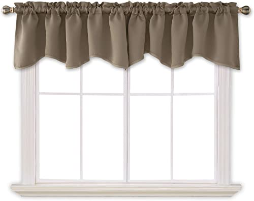 Deconovo Solid Rod Pocket Blackout Curtains Valances Window Scalloped Blackout Drapes for Bedroom 52×18 Inch Khaki 4 PCS