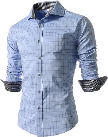Dazosue Hombres Camisas De Cuadros De Manga Larga Camisa De Puño Francés Botón Negocio: Amazon.es: Ropa y accesorios
