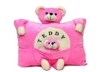 Jassi Toys Teddy Pillow Stuffed Soft Plush Soft Toy Kids/Baby Cushion