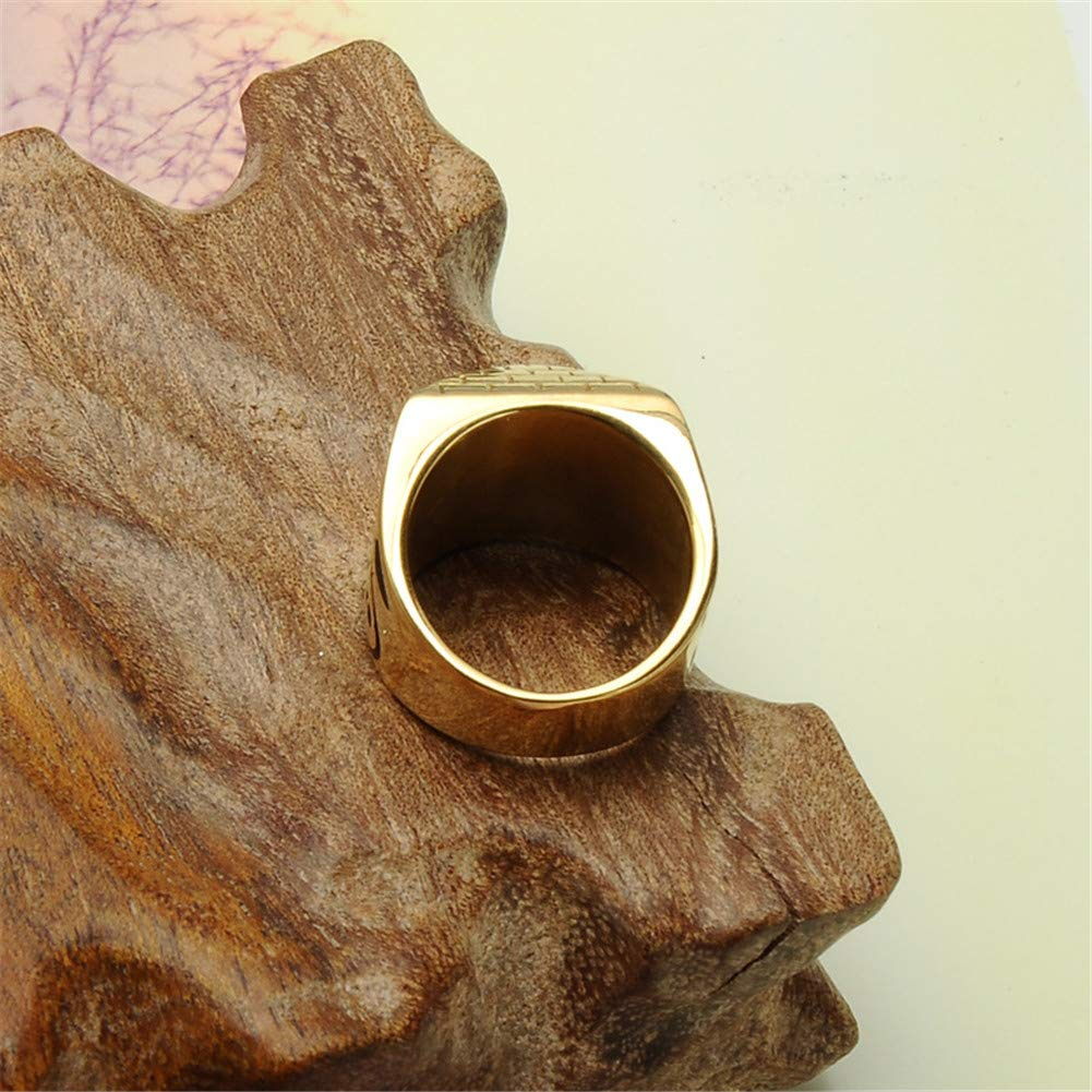 Aruie Stainless Steel Egypt Pyramid Eye of Horus Signet Engraved Gold Plating Geometric Hip Hop Ring for Men