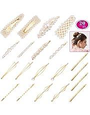 20pcs Pearls Hair Clips Gold Hair Barrettes Pins for Girls, Decorative Artificial Hair Pins Handmade Hair Accessories for Women Sweet Bobby Pins for Wedding Bridal Ornaments Gifts Hair Elegant