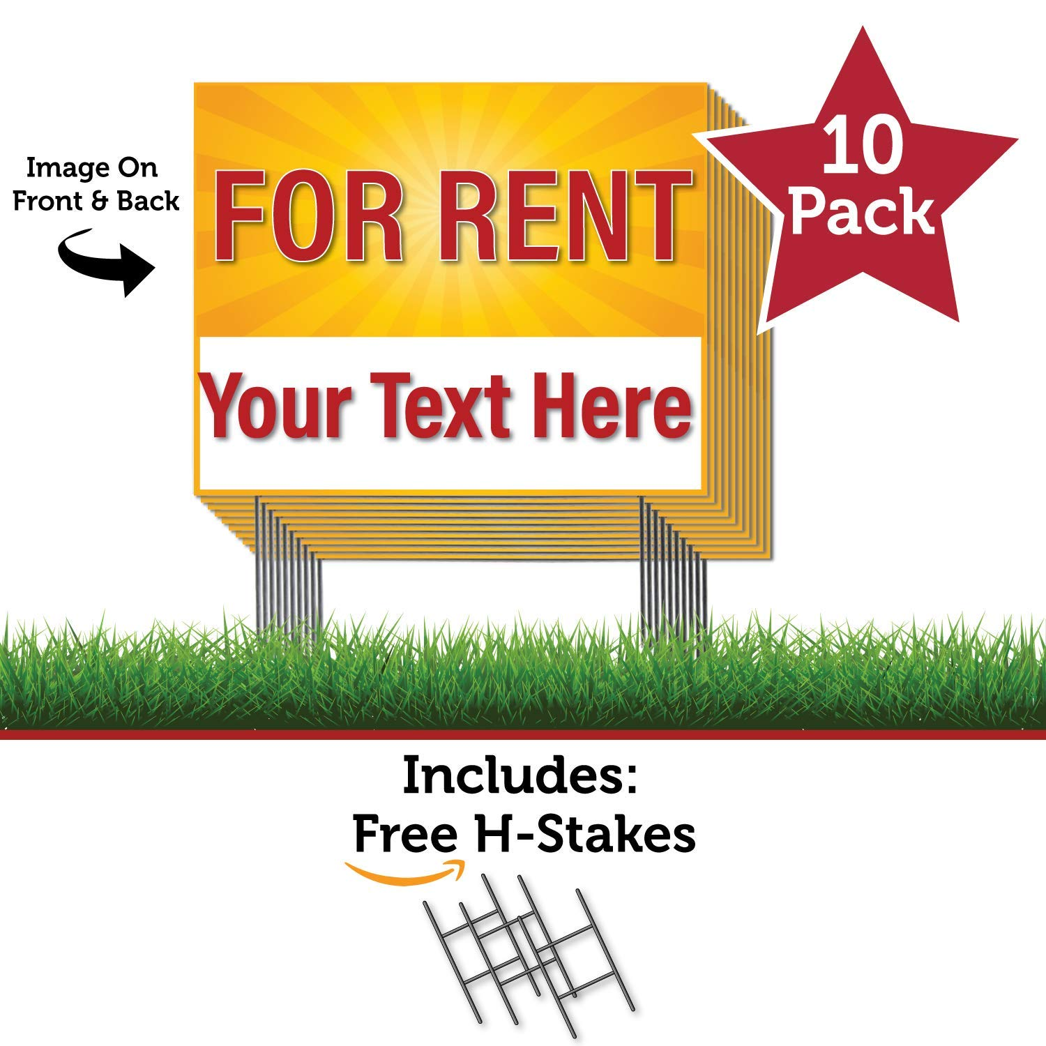 HALF PRICE BANNERS | Custom | for Rent - 10 Pack Double Sided Coroplast Yard Signs | 18''x24'' YEL Burst | Free H-Stakes | Easy Install Advertising Sign | Business Real Estate | Made in The USA