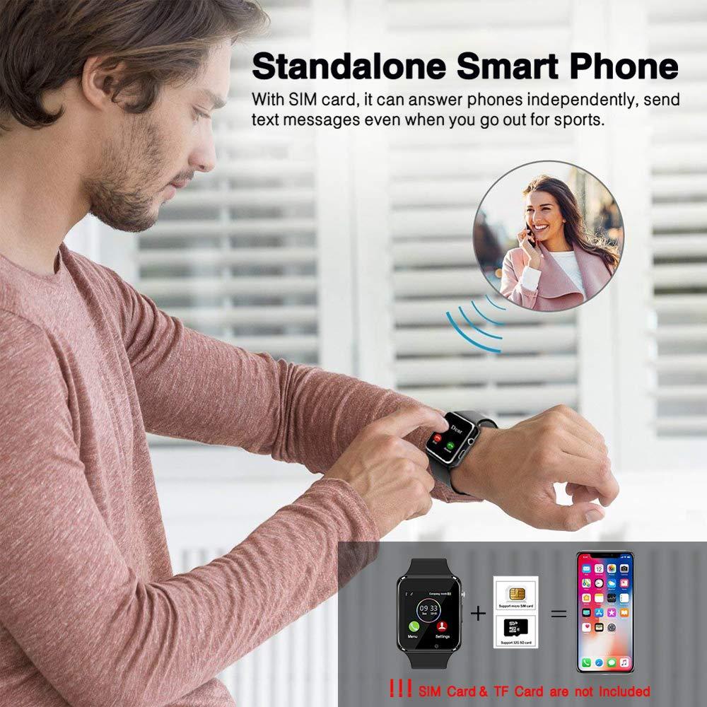 Smart Watch Bluetooth Fitness Tracker, Qidoou Android iOS Compatible Smartwatch of SIM SD Card Slot, Waterproof Pedometer Sleep Calorie Monitor Call/Message Music Clock for Kids Men Women (Black) by Qidoou (Image #9)
