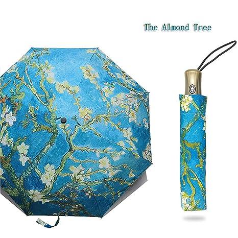 9464824559aab Amazon.com: Folding Umbrella Female Windproof Paraguas Van Gogh Oil ...