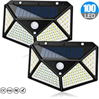 Chulovs Solar Light Outdoor 100 LED Waterproof Security Wall Night Light with Motion Sensor 270° Wide Angle for Pathway…