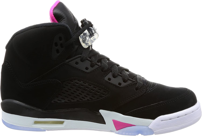 Black//Black-Deadly Pink-White Jordan Kids AJ 5 Retro GG Sneaker