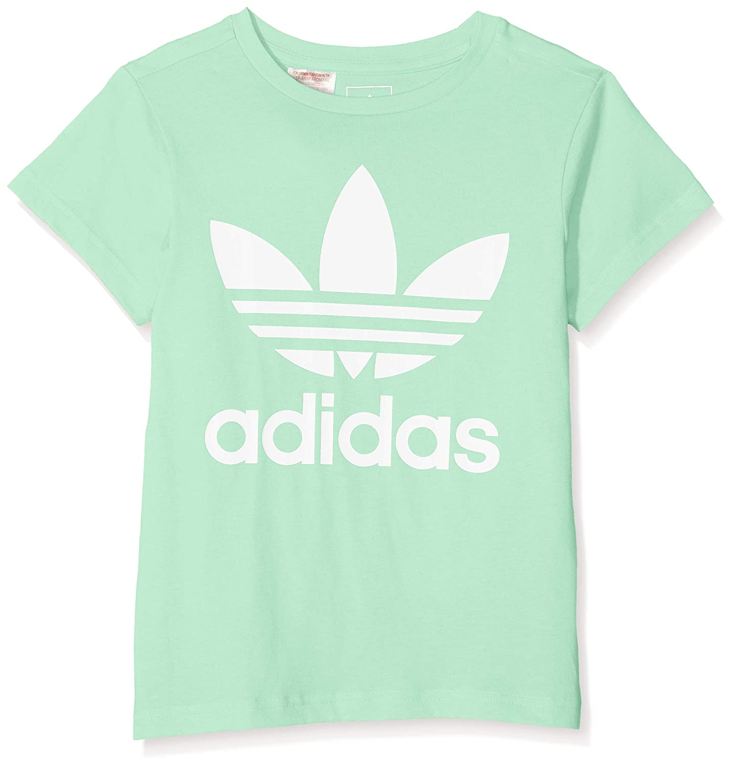 adidas Children's Trefoil T-Shirt Clear Mint/White Size 158 DH2473