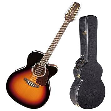 TAKAMINE gj72ce-12bsb brillante marrón Sunburst Jumbo acústica de 12 cuerdas para guitarra eléctrica w/carcasa rígida: Amazon.es: Instrumentos musicales