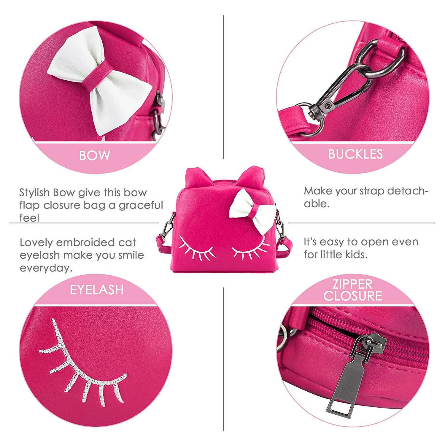 Amazon.com  WuWuFamily PU Leather Girl Purse Cat Ear Bag Kids Mini Backpack Cute  Shoulder Bags for Girls (Hot Pink)  Toys   Games 4dc0f2c18a54