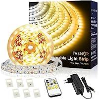 Warm Witte LED-strip, TASMOR LED-strip 5M Dimbaar 2700-6500K, LED-stripverlichting met RF-afstandsbediening voor…