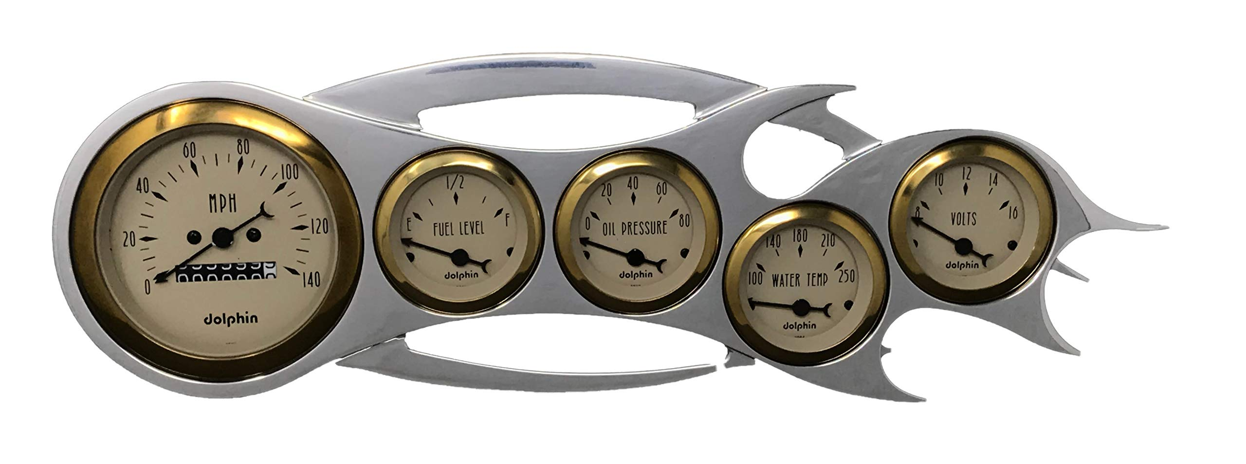 Universal Flame - 5 Gauge Dash Cluster Panel - Mechanical -Gold Bezel by Dolphin Gauges