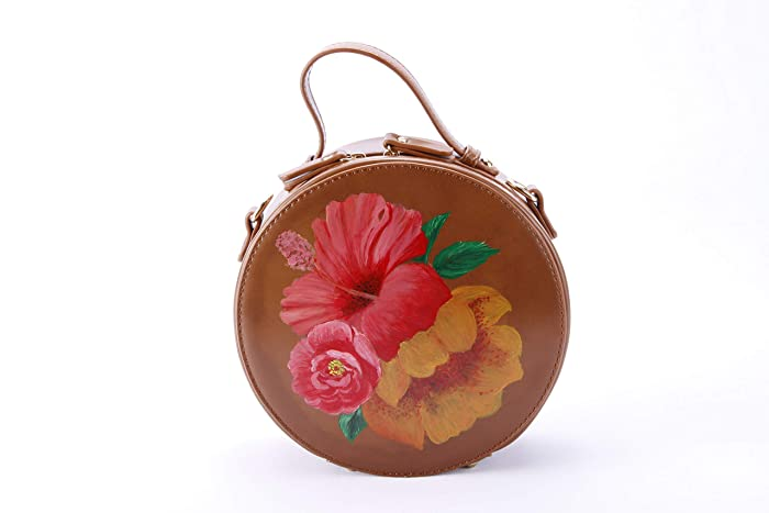 Hand Painted Floral Crossbody Round Bag-Circle Bag Evening Clutch Purse-Round  Leather Bag Handbag Shoulder Bag with Zipper Adjustable Strap Top  Handle-Cell ... bb4e0e7530b60