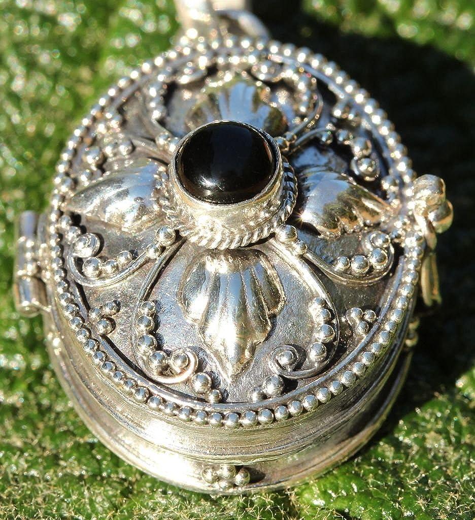Windalf Pendentif en Argent Sterling 925 Fait Main avec Onyx Noir 3,4 cm