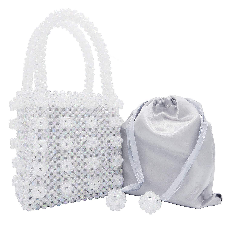 Miuco Womens Beaded Handbags Handmade Weave Crystal Pearl Tote Bags Transparent by Miuco (Image #1)