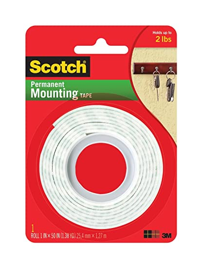 amazon com 3m scotch heavy duty mounting tape, 1 inch by 50 inch, 2