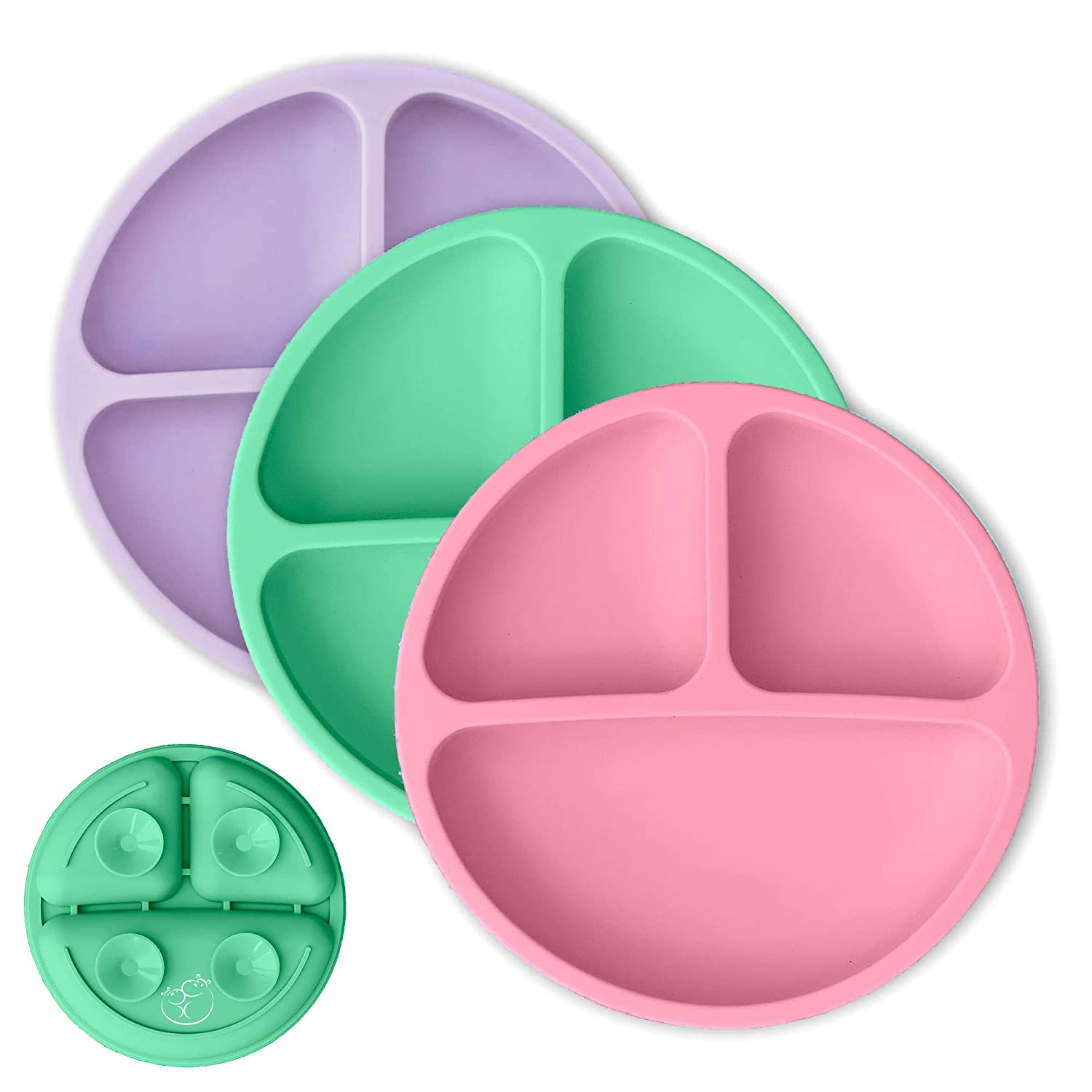 Hippypotamus Toddler Plates with Suction - Baby Plates - 100% Silicone Divided Plate - BPA Free - Microwave Safe Dishes - Set of 3 - Suction Pink, Lavender, Mint Green