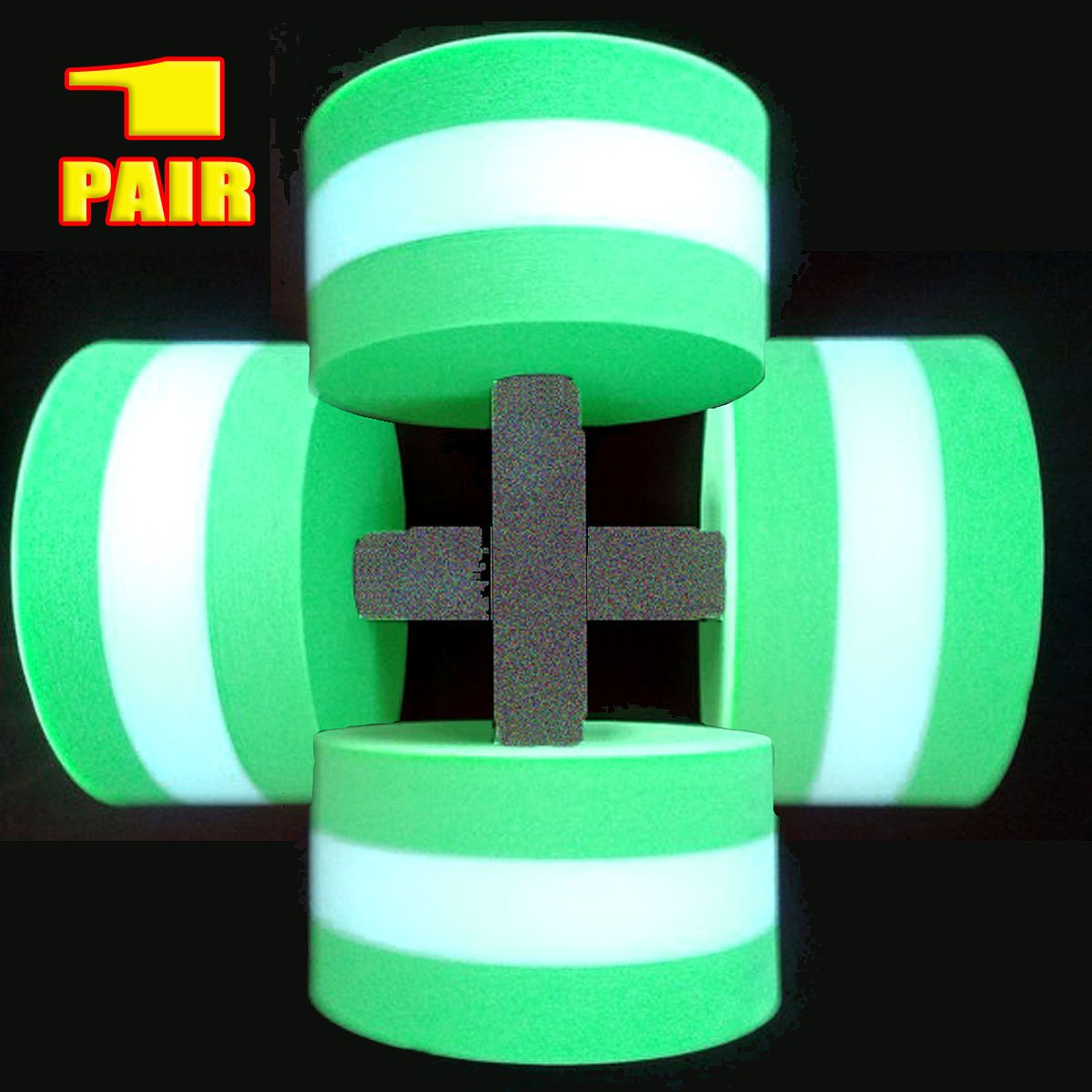 VERISA Water Aerobic Exercise Foam Dumbbells Pool Resistance 1 Pair, Water Fitness Exercises Equipment for Weight Loss- 1 Pair - 3 Colors Available (GREEN)