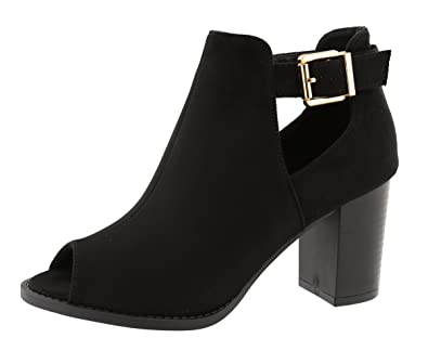 f60dd4bd586 TOP Moda Women s Peep Toe Cut Out Chunky Stacked Block Heel Ankle Bootie (6  B