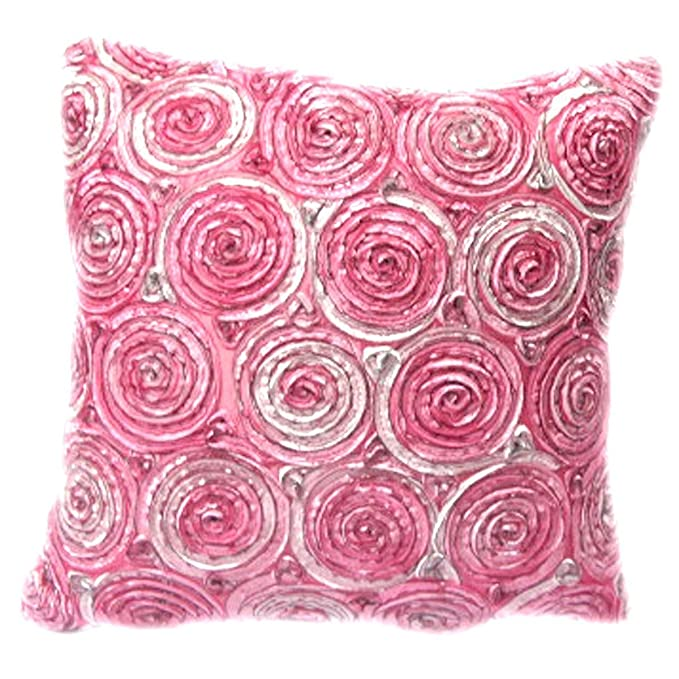 Amazon.com: (Single) Two Tone 3d Bouquet of Pink Roses Throw Cushion ...