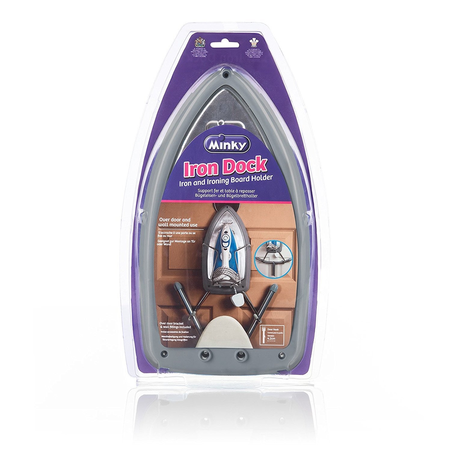 Minky Ironing Dock, Holds Iron and Board Securely to Wall or Back of Door