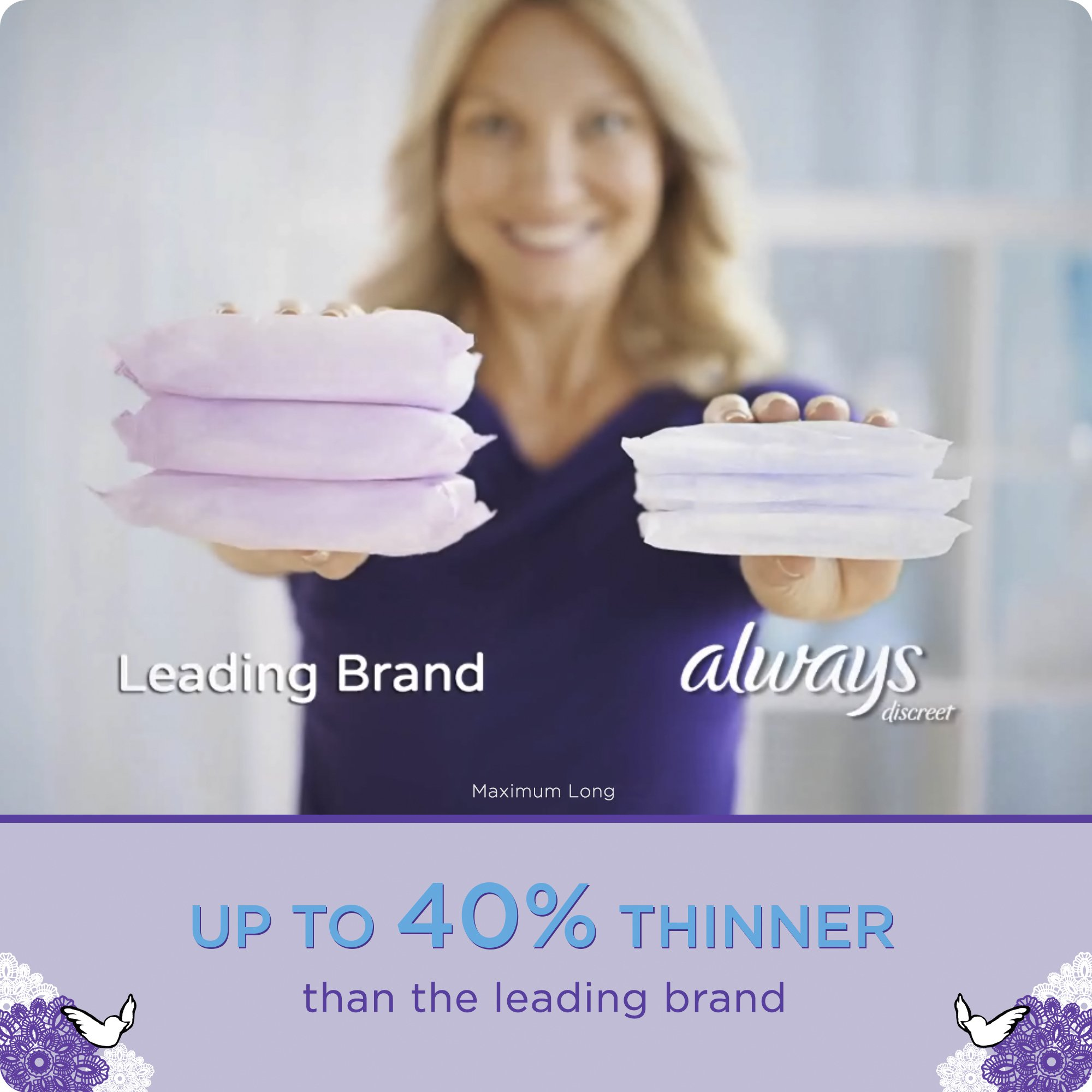 Always Discreet, Incontinence Pads, Maximum, Regular Length, 48 Count by Always Discreet (Image #7)