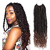 Passion Twist Hair 6 Packs 18 Inch Ombre Pretwisted Passion Twist Crochet Hair Prelooped Curly Ombre Brown Crochet…
