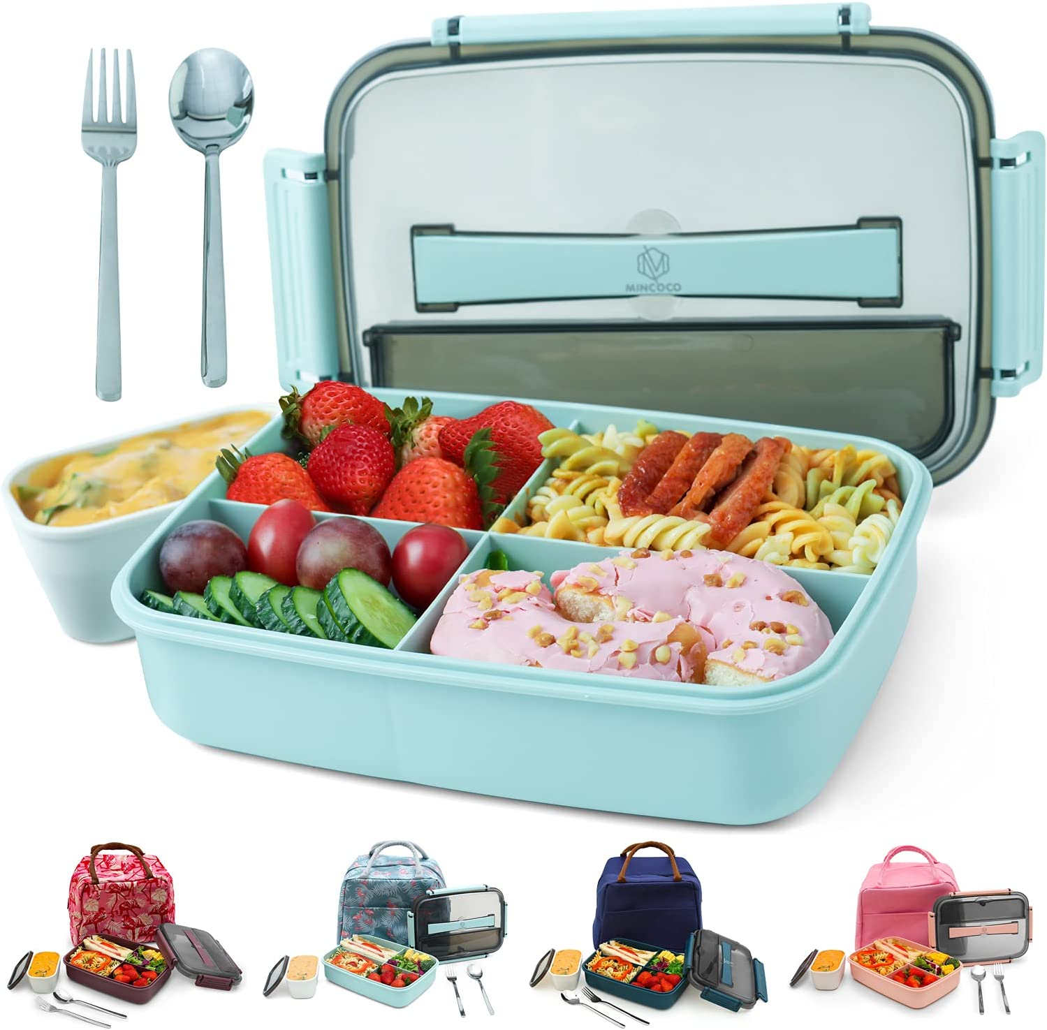 MINCOCO Bento Lunch Box Leak-proof Eco-Friendly Bento Box Food Storage Containers with Sauce Jar and Stainless Spoon&Fork for Adults Women Men Kids