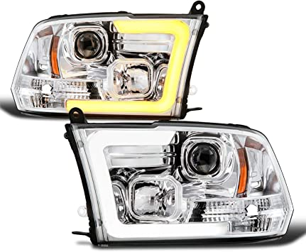 Amazon Com Fits 2009 2010 2018 Dodge Ram 1500 2500 3500 Projector Chrome Headlights W Led Tube Yellow Turn Signal Pair Automotive